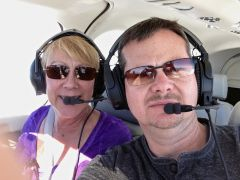 Michele and I flying to Mammoth Mountain