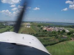 Short Final into 26N, where 90 deg xwind is the rule. Today is no exception!!