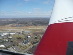 Ithaca, NY.  KITH.  Banking in to get into the right downwind to land on runway 14.